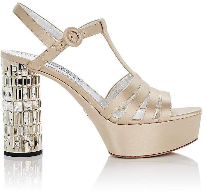 Prada Women's Embellished-Heel Satin