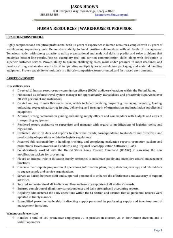 Human Resources Warehouse Supervisor Resume Sample Warehouse Resume Resume Examples Job Resume Samples