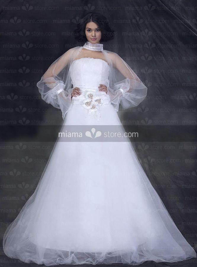 KATHARINE - A-line Strapless Court train Tulle Wedding dress