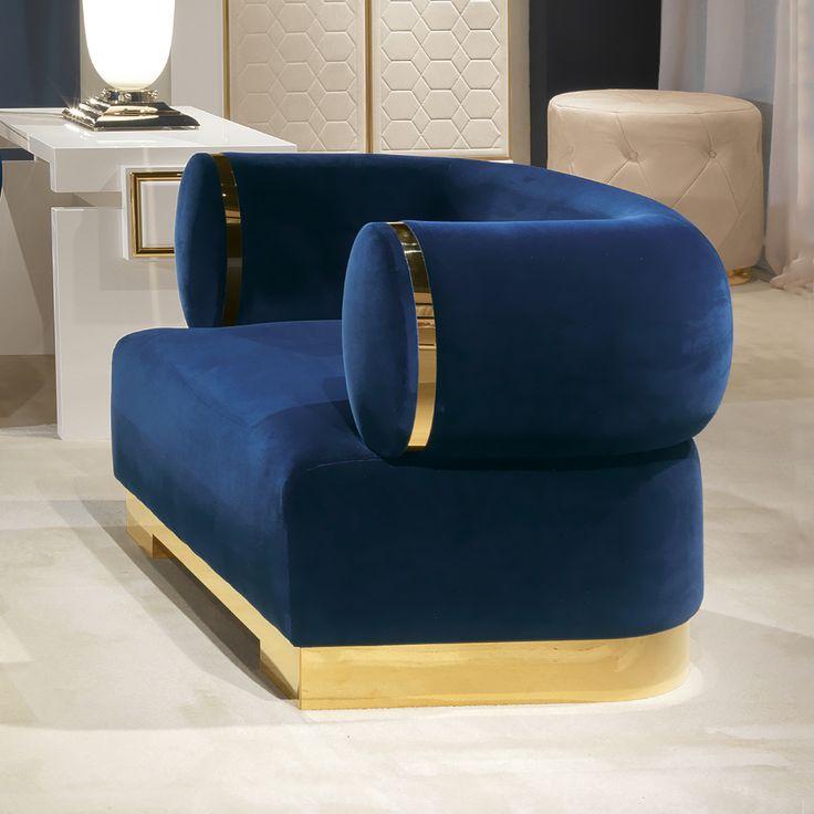 Best High End Modern Italian Designer Blue Velvet Armchair 400 x 300