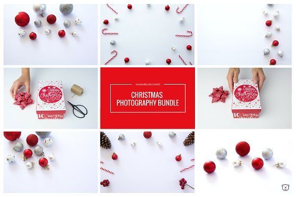 Christmas Red & Silver Stock Photos by mamabearcomms on @creativemarket