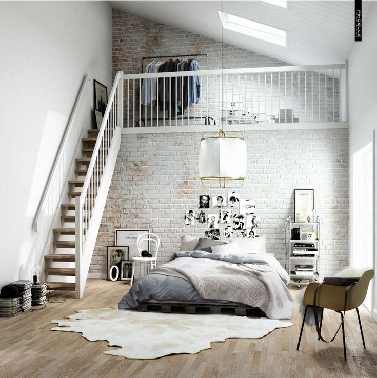 Affordable Scandinavian Bedroom With Jane Platform Bed And White Cowhide Rug Also Rustique Hardwood Flooring: Scandinavian Bedroom With Suitable Furniture Design