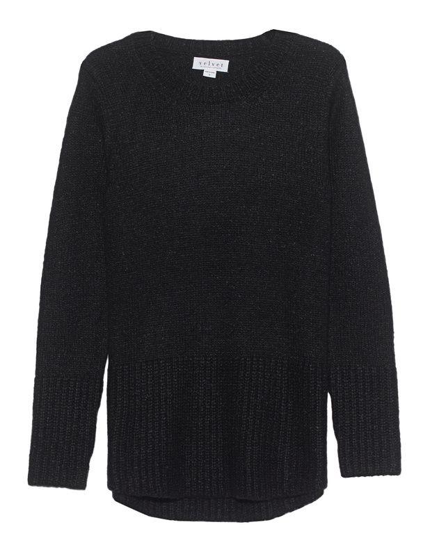 Grobstrick-Pullover Der locker geschnittene clean schwarze Grobstrick-Pullover kommt mit Rundhalsausschnitt und extra breiten Ripp-Bündchen.  Monochromes Design mit dem gewissen Twist!