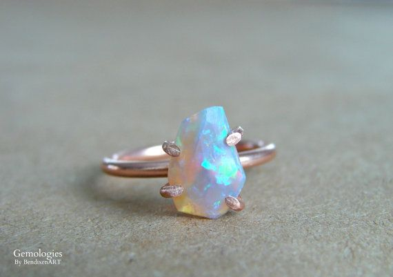 Opal ring for her. This raw opal is of the highest grade and ohhhh soooo gorgeous! Opals next to copper is the most exquisite pairing Ive ever seen.