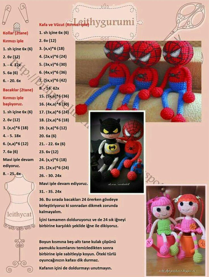 Amigurumi örgü oyuncak örümcek adam modeli yapılışı anlatımlı