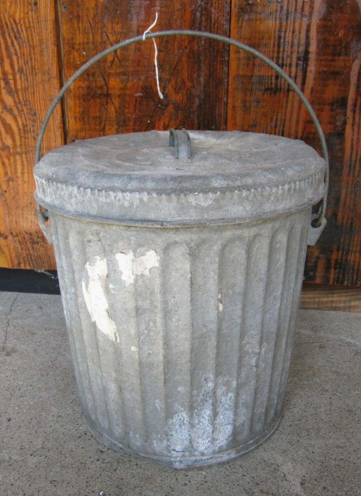 Vintage Galvanized Metal Fence Top Finial Fence Post: Small Vintage Galvanized Metal Trash Can W Lid/Handle
