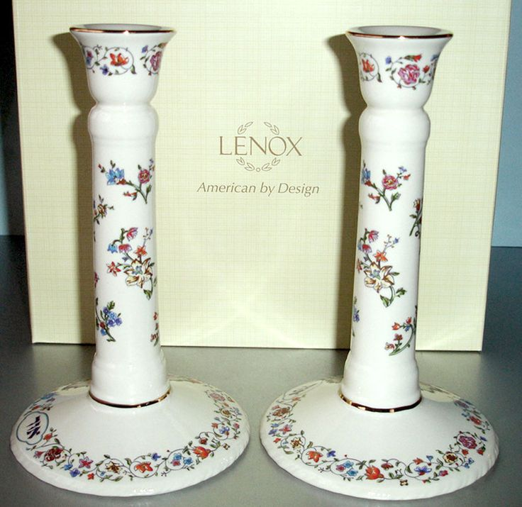 Lenox L'Chaim Sabbath Candlestick Holders SET/2 Ivory/Floral Judaica Collect New #Lenox #2CandlestickHolders