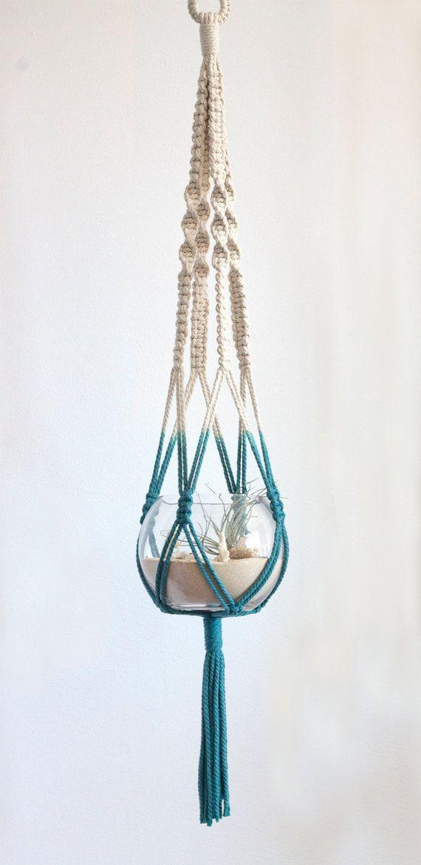 Suspensión de macramé y terrario - inmersión teñido - Teal