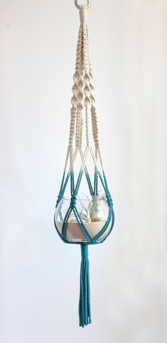 Macrame Hanger and Terrarium Dip Dyed Teal by studioraw on Etsy, $79.00