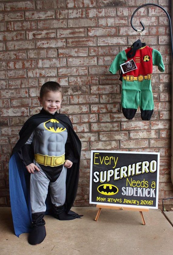SuperHero Pregnancy Announcement Sibling by MJNDoodles on Etsy