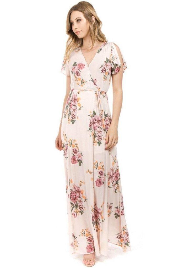 c59d4110e3c A Gorgeous Pink Floral True Wrap Maxi Dress. Flutter sleeve