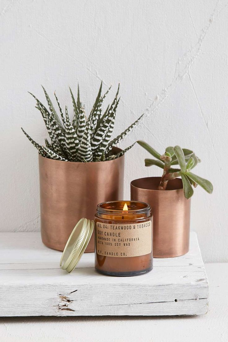 P.F. Candle Co. Teakwood & Tobacco 3.5oz Soy Candle - Urban Outfitters