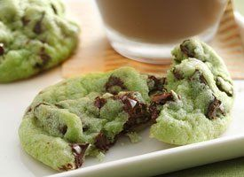 Mint Chocolate Chip Cookies  Ingredients:  1 pouch (1 lb 1.5 oz) Betty Crocker® sugar cookie mix  1/2 C butter or margarine, softened  1/4 teaspoon mint extract  6 to 8 drops green food color  1 egg  1 C crème de menthe baking chips  1 C semisweet chocolate chunks