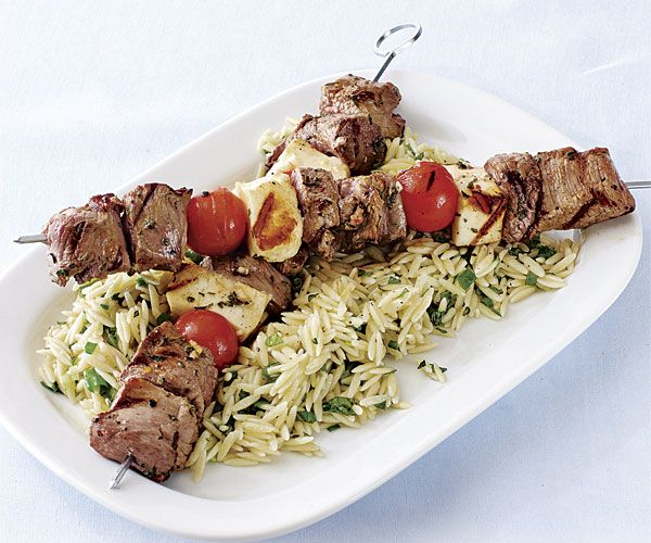 Grilled Lamb, Tomato, and Halloumi Skewers with Orzo Salad — Fine Cooking