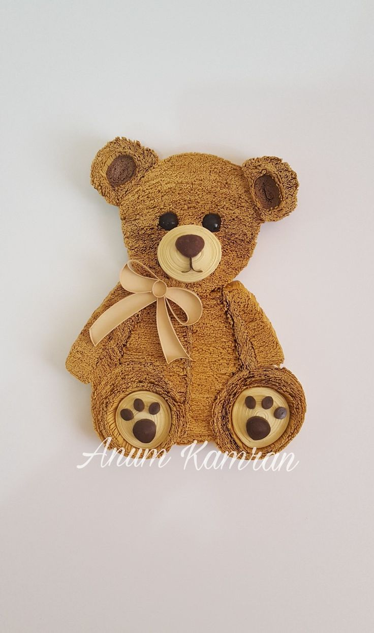Paper fringed Little Teady Bear  By Anum Kamran