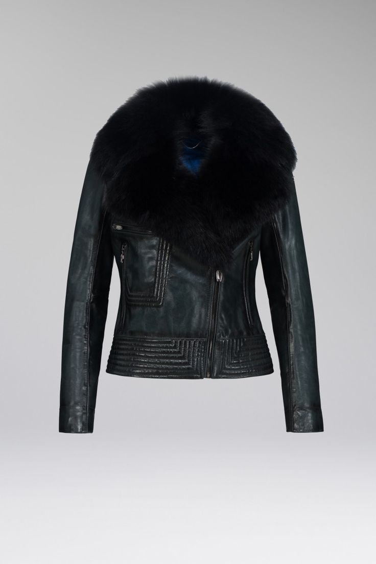 WOMENS BLACK LEATHER COAT WITH BLACK FUR
