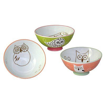 """Set of 3 assorted rice bowls. Owls. 4.75"""" $26.99 (save $7.00)"""