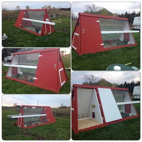 Chicken coop made from old swing set.