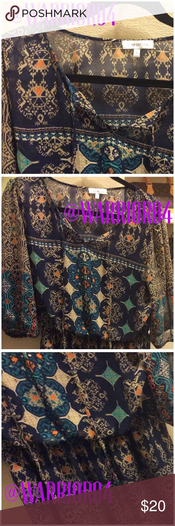 """Body Central Blue Design Dress Size Large Body Central Blue Design Dress Size Large length is 34"""" and chest spans to 19""""  The Belt is NOT included Body Central Dresses"""