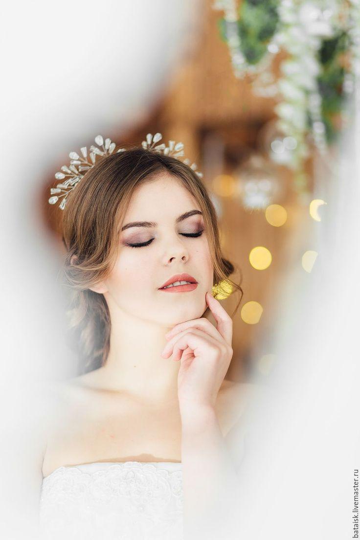 """Купить диадема """"снежинка"""" - прозрачный, хрустальные бусины, ободок для девушки, для невесты, для девочки, КОНУСЫ, конус"""