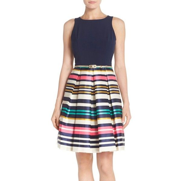 Eliza J Belted Stripe Jacquard Fit & Flare Dress (10.085 RUB) ❤ liked on Polyvore featuring dresses, navy multi, navy dress, metallic dress, eliza j dresses, cut out dress and navy stripe dress