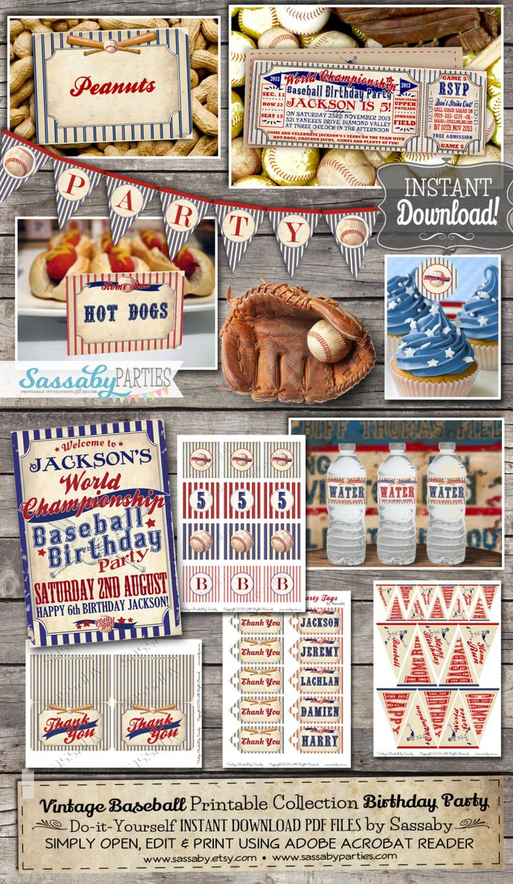Vintage Baseball Party Collection - INSTANT DOWNLOAD - Editable & Printable Boys Birthday Party Decorations by Sassaby