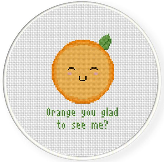 FREE for July 7th 2014 Only - Orange You Glad To See Me Cross Stitch Pattern