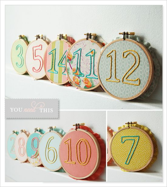 Embroidered Table Numbers. How cute is this?: Decor, Wedding Tables Numbers, Wedding Ideas, Embroidered Tables, Embroidery Tables Numbers, Wedding Photos, Numbers Ideas, Embroidery Hoop, Table Numbers
