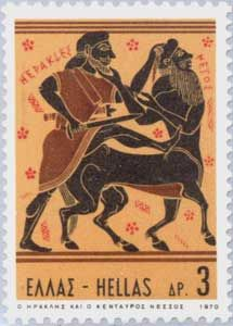 Hercules slays the centaur Nessos on this Greek issue.
