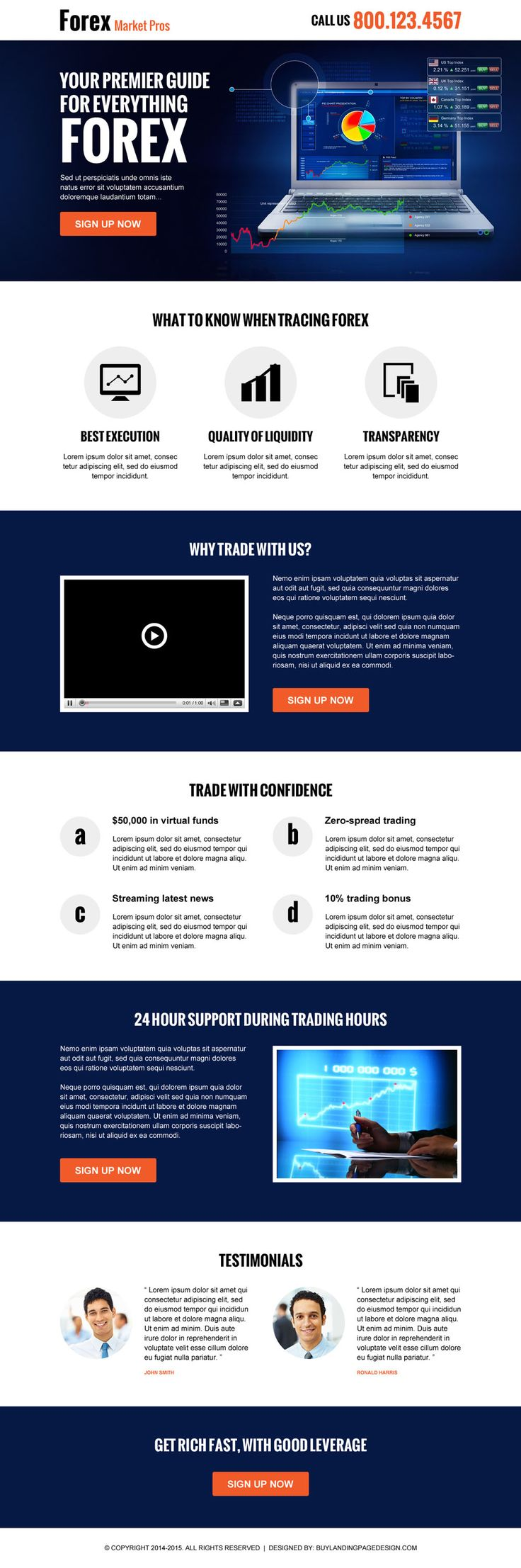 forex marketing guide call to action responsive landing page design template