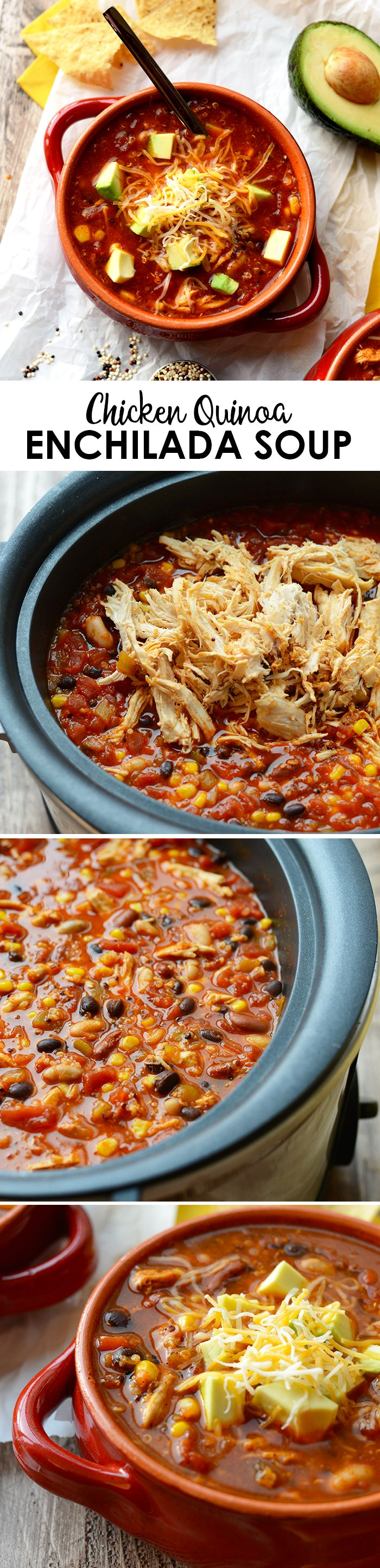 Whip out that crock-pot and pile in all of your favorite ingredients to make this stupid-easy Crock-Pot Chicken Quinoa Enchilada Soup!