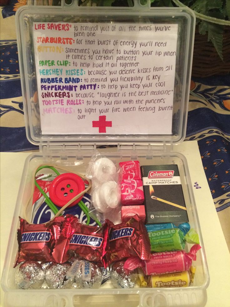 """doctor survival kit""! This was a super cute gift my daughter and I made for my dad who's a doctor."