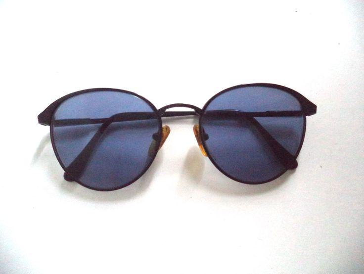 Stunning Lennon Black Round Eyeglasses Sunglasses 80s Wire Rim Engraved Metal…