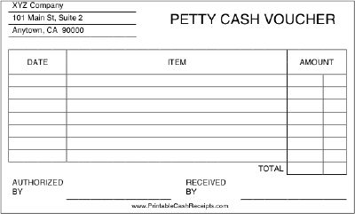 This printable petty cash voucher includes room to list multiple petty cash disbursements. Free to download and print