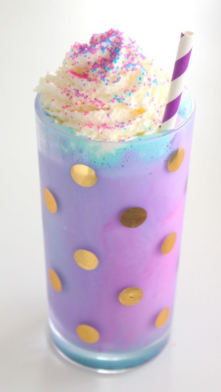 Recipe with video instructions: A pretty, swirly vanilla milkshake! Ingredients: 2 1/2 cups vanilla ice cream, 3/4 – 1 cup milk, pink, purple and blue food colouring, whipped cream, pink, purple and blue sprinkles