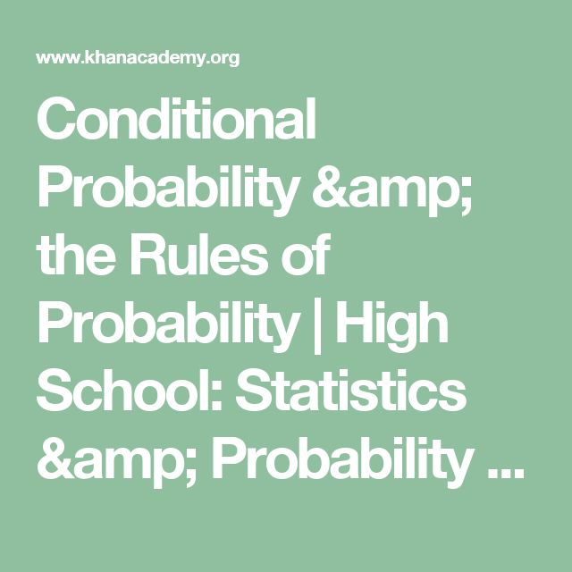 Conditional Probability & the Rules of Probability | High School: Statistics & Probability | Common Core Map | Khan Academy
