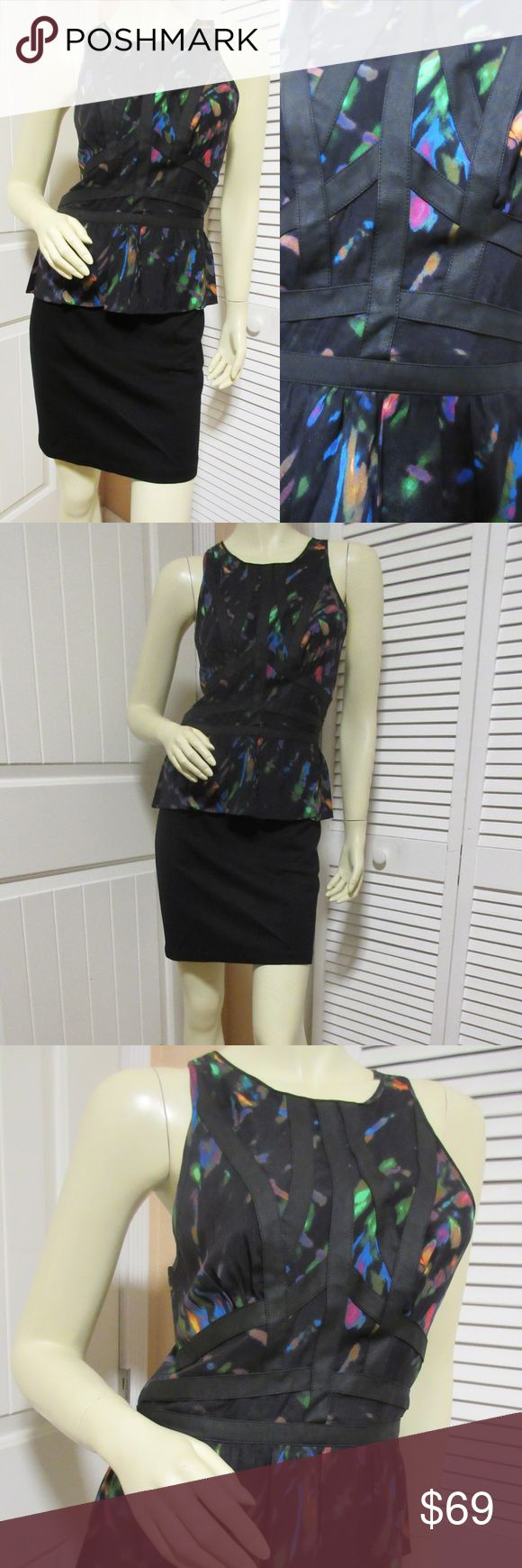 """CHARLIE JADE Womens Black Neon Sheath Peplum Dress CHARLIE JADE Womens Little Black Dress - Sleeveless Sheath Peplum Dress Pencil Skirt Cut. Suede-like bandage strips trim, neon color pattern. In overall great condition, preowned, slight scuff mark at upper back, slight runs at upper back shoulder, hardly visible. UPPER 92% SILK 8% Spandex, BOTTOM 72% Rayon 24% Nylon 4% Spandex, LINING 100% Polyester.   Size SMALL. BUST (pit to pit) 17"""" across unstretched, 18"""" across stretched, LENGTH…"""