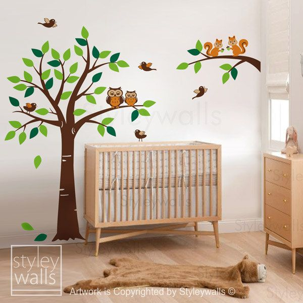 Love the stuffed animal rug! Forest Winter Tree Wall Decal Tree Woodland Squirrels Owl and Birds Animals Wall decal Nursery Decal Set Baby Room Kids Children wall decal. $109.00, via Etsy.