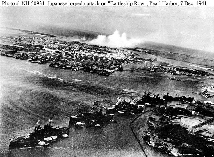 Pearl Harbour - 7th December 1941. A naval disaster for America. An operational brilliance for Japan in the short-term.    Within two hours of the attack, five battleships had been sunk, another 16 damaged, and 188 aircraft destroyed.  Pearl Harbour opened the door for America to leave neutrality and  join the fight in WWll.