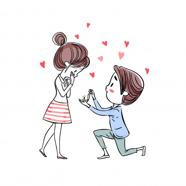 A Man Kneeling Present A Ring To Ask Her To Marry Cute Couple Art Art Love Couple Vector Art