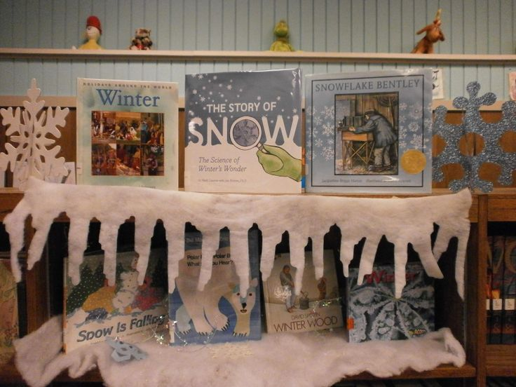Winter Book Display - Hills Elementary Library, Iowa     I did this in my library and it turned out so cute!  I just used white butcher paper, and it worked great! Judy