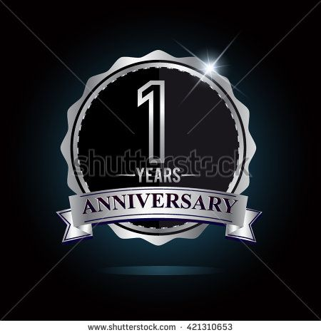 1st anniversary logo with ribbon. 1 years anniversary signs illustration. Silver anniversary logo with ribbon. - stock vector