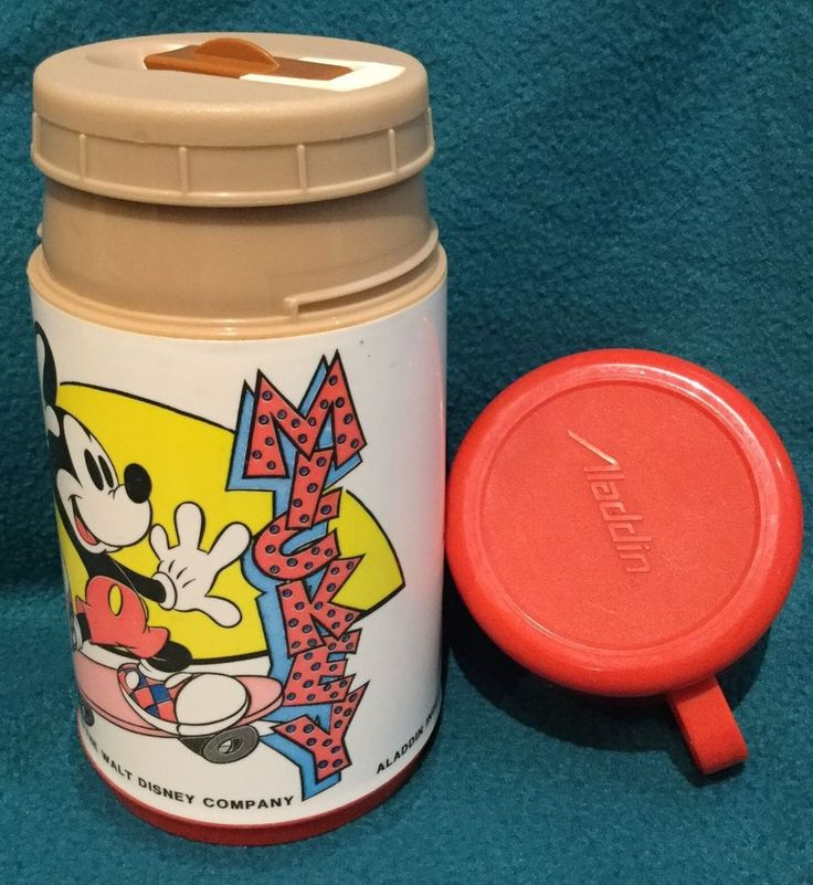 Vtg 80s Walt Disney Co Mickey Mouse Plastic Sipper Thermos Disneyana Aladdin USA in Collectables, Disneyana | eBay!