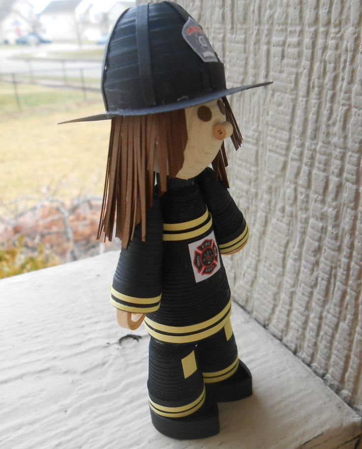 Quilled FIREFIGHTER GIRL. Paper Decoration. Firefighter Gift. Cake Topper. Unique Gift. CUSTOM Orders Welcome. by TreeTownPaper on Etsy
