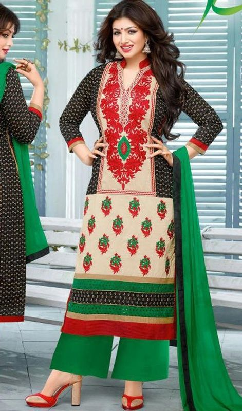 Be the cynosure of all eyes just like Ayesha Takia dressed in this multicolor shade cotton palazzo dress. Beautified with lace and resham work. #BeautifulFloralEmbroideredPalazzoSuit