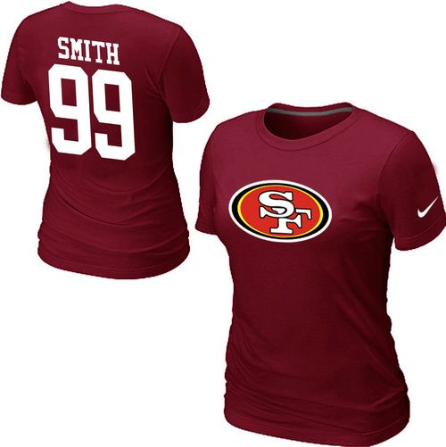 Nike San Francisco 49ers 99 SMITH Name & Number Women's TShirt Red