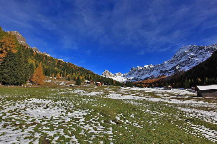 Wonderful colors: green, white, yellow and blue - only dolomites photo fashion
