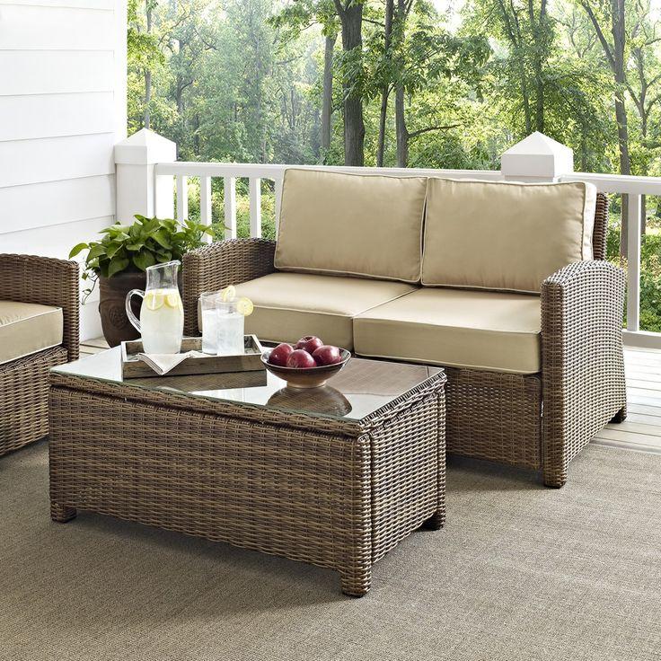 Bradenton 2PC Outdoor Wicker Set W/ Sand Cushions By Crosley