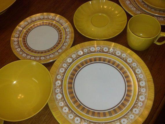 Prolon Melmac Yellow Dinnerware Set 7900 50s Circa 42 by RCEastman, $40.99