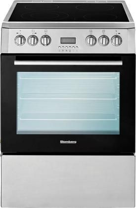 """BERU24100SS 24"""" Wide Electric Convection Free Standing Range Digital Control 2.3 cu. ft. Multifunction Oven Capacity Oven Lights Conventional Cooking in Stainless Steel/Black"""